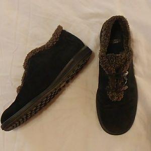 Stuart Weitzman black loafer booties